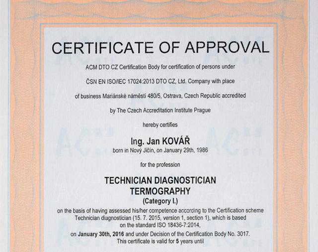 certifikát technik diagnostik termografie
